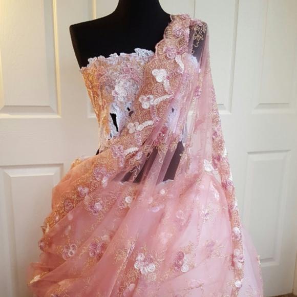 Sebrina Love / Sebrina Love Bridals Dresses & Skirts - Pink Gold White Lace Lehenga Sari Bridal Ballgown